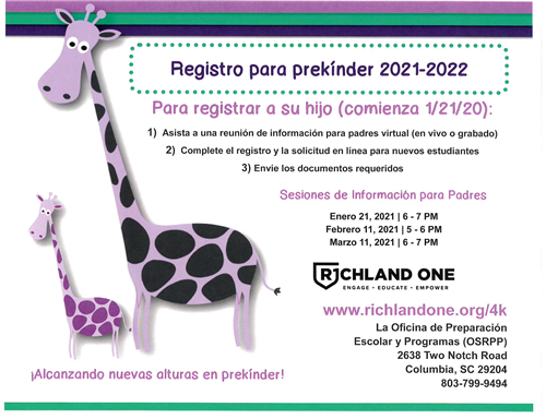 PreK Registration Spanish