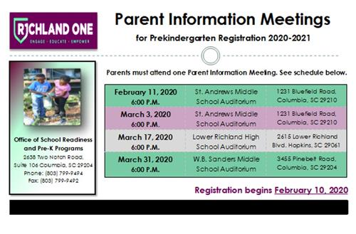 Revised Parent Information Meetings