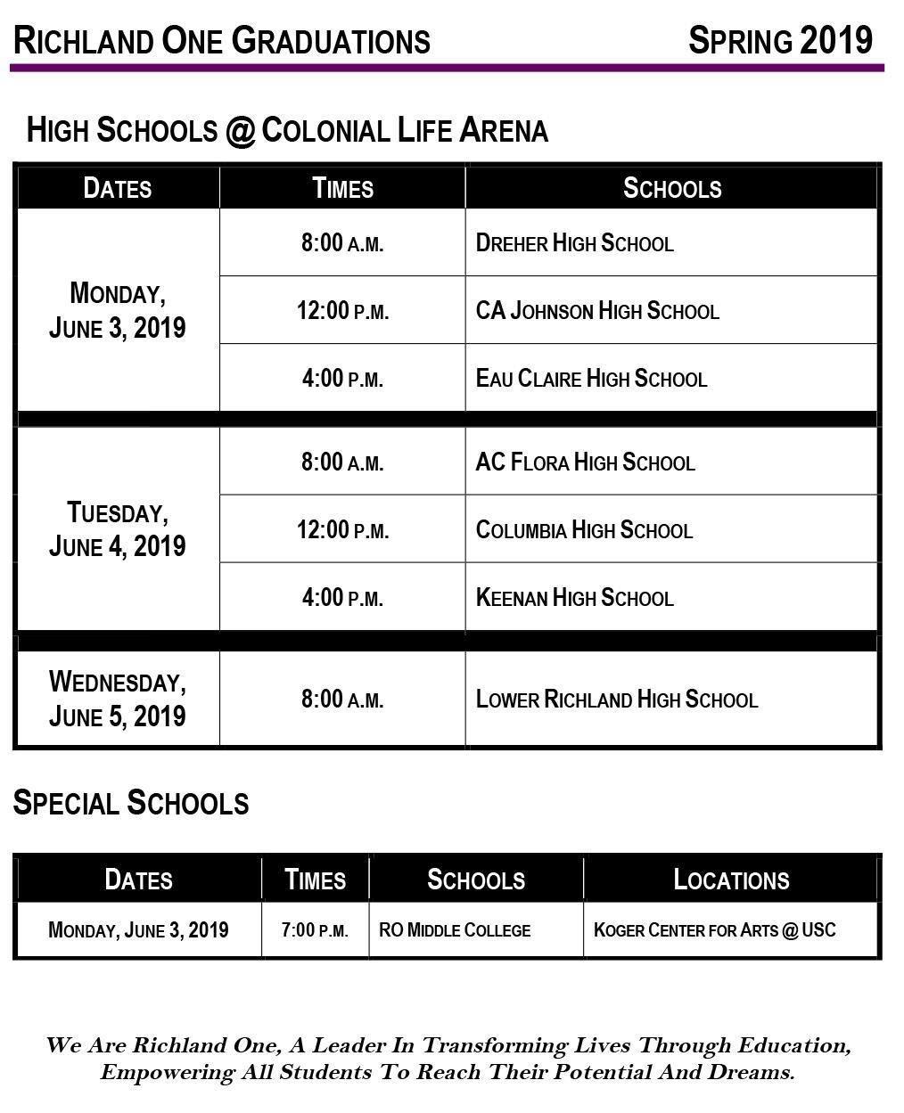 Cms 2014-2019 Calendar 2019 Richland One High School Graduation Schedule / Home