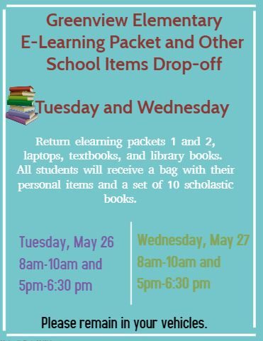 eLearning Packets Drop-Off Dates and Times