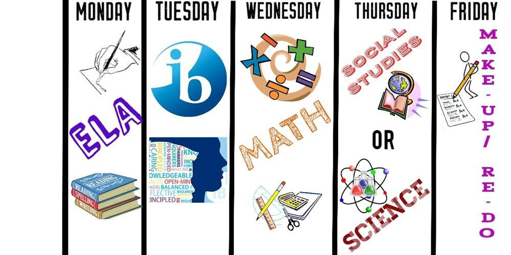 Academic Enrichment weekly schedule