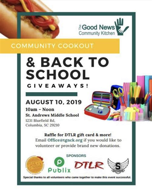 Community Cookout & Back To School Giveaways