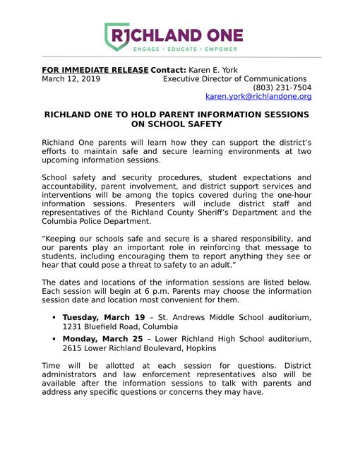 R1 Parent Information Session on School Safety