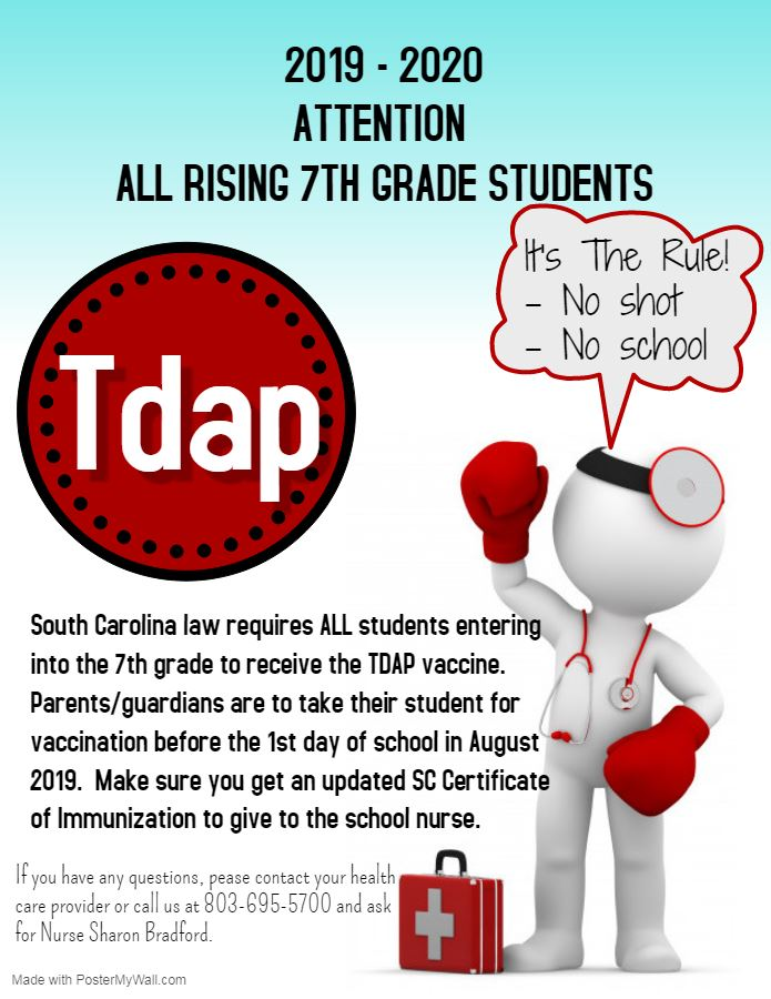SC Law requires all rising 7th graders to receive TDap vaccination.