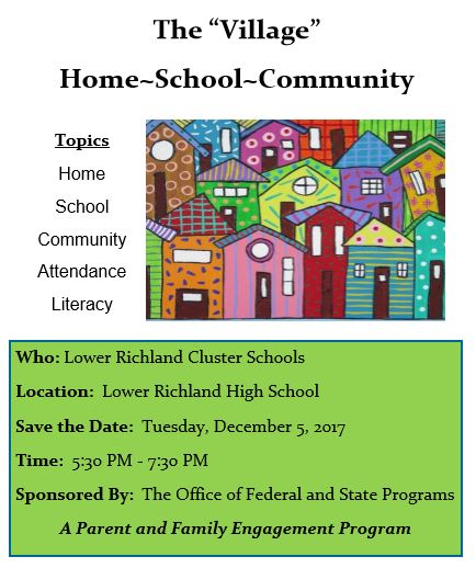 Flyer about The Village, an upcoming community event for the Lower Richland Cluster Schools.