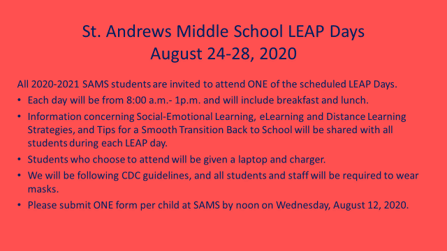 Leap days at Saint Andrews Middle