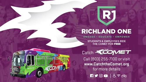 R1 High School Students and Staff can ride the Comet Free