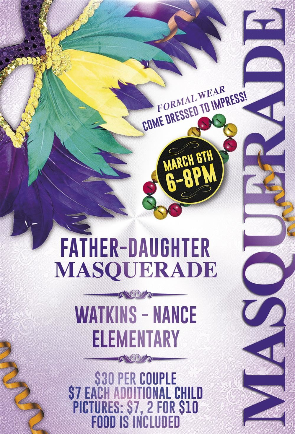 Flyer for the Father Daughter Masquerade Dance