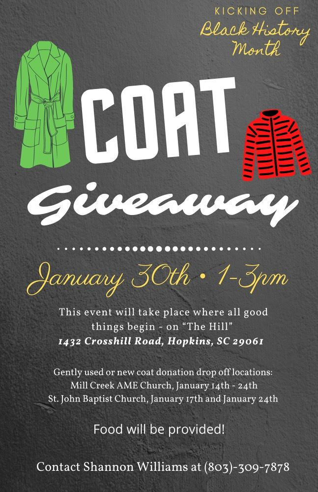 Coat Giveaway, January 30th 1-3PM
