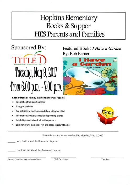 Hopkins Elementary  Books & Supper  HES Parents and Families